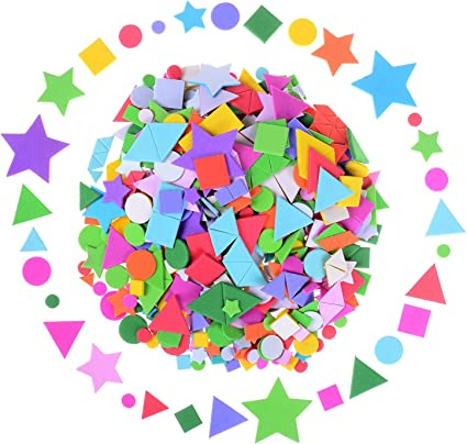 Olgaa 1300 Pieces Foam Stickers Geometry Self-Adhesive Stickers Assorted Colors Mini Geometry Shapes Foam Stickers for Crafts Arts Making Kids Gifts Circle, Square, Triangle,Pentagram