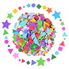 Olgaa 1300 Pieces Foam Stickers Geometry Self-Adhesive Stickers Assorted Colors Mini Geometry Shapes Foam Stickers (Circle, Square, Triangle,Pentagram) for Crafts Arts Making Kids Gifts