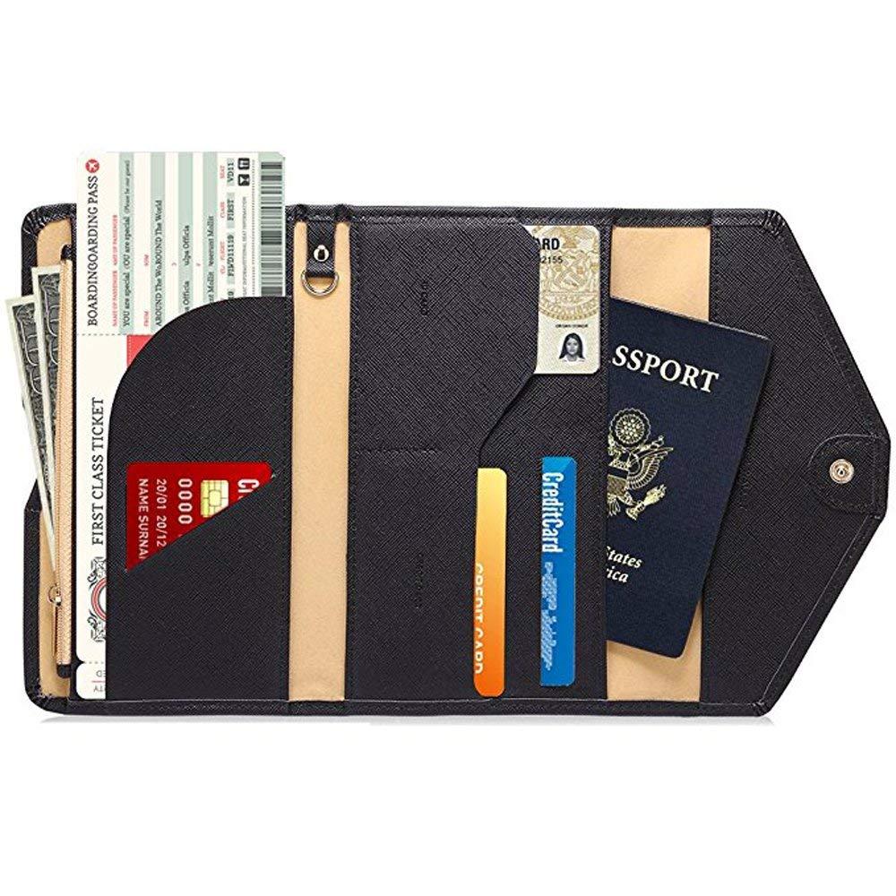 Ver.4 Tri-fold Document Organizer Holder AIZBO Multi-Purpose RFID Blocking Travel Passport Wallet 16 Dark Olives