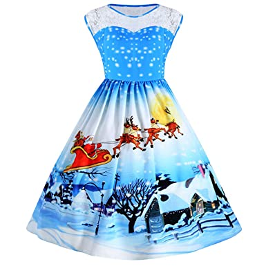 BCVHGD Gift 3D Christmas Snow Print Vintage Dress Women Retro Party Dresses Vestidos Blue S