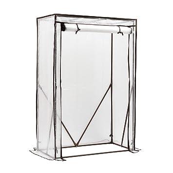 Sekey Invernadero para Tomates con Puerta para enrollar, Estructura de Acero zincado, 100 x 50 x 150 cm, Color Blanco