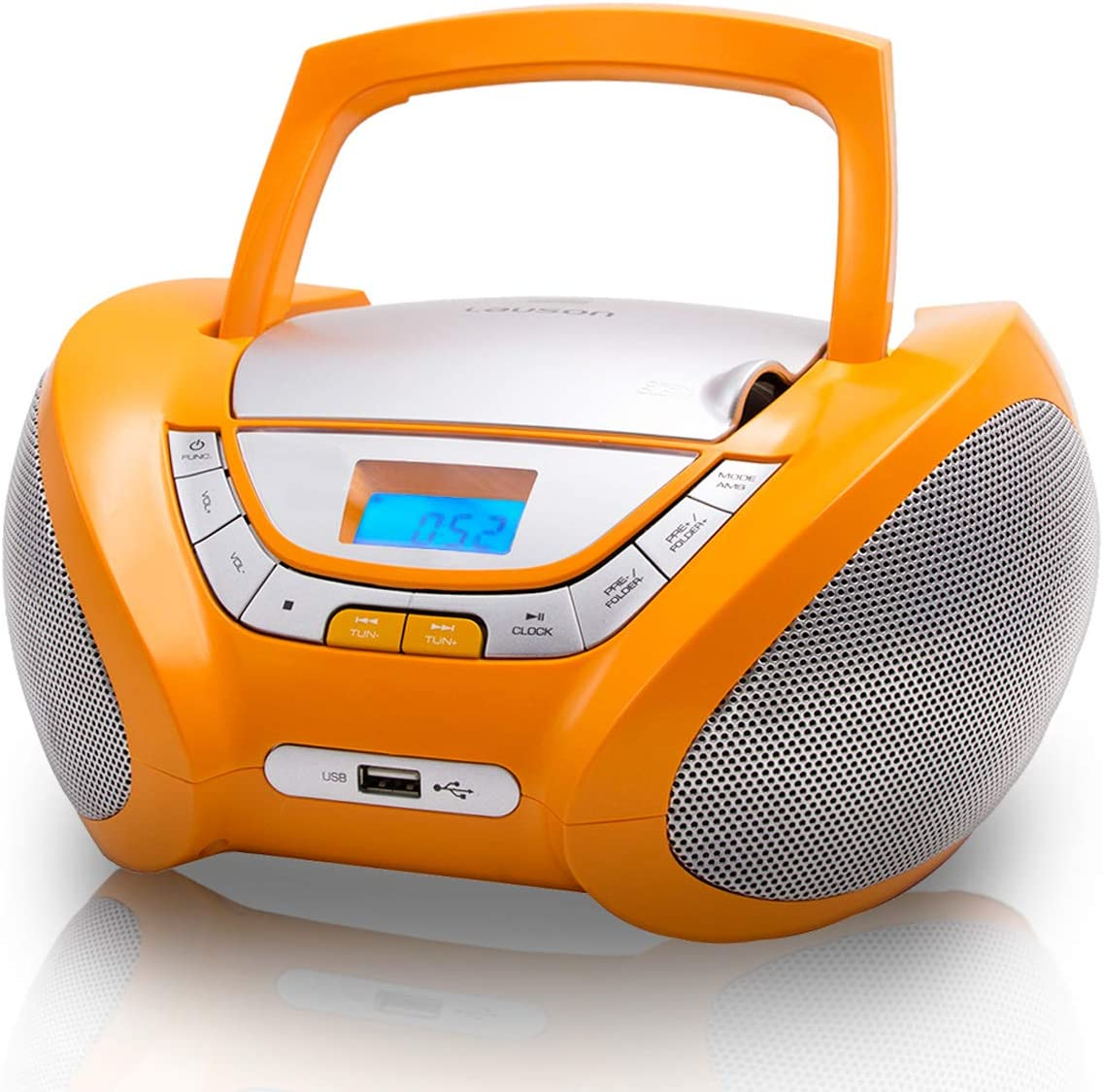 Lauson Cp447 Tragbarer Cd Player Usb Boombox Cd Cd R Usb Kinder Radio Mit Cd Spieler Kopfhöreranschluss Cd Player Für Kinder Netz Batterie Orange Heimkino Tv Video