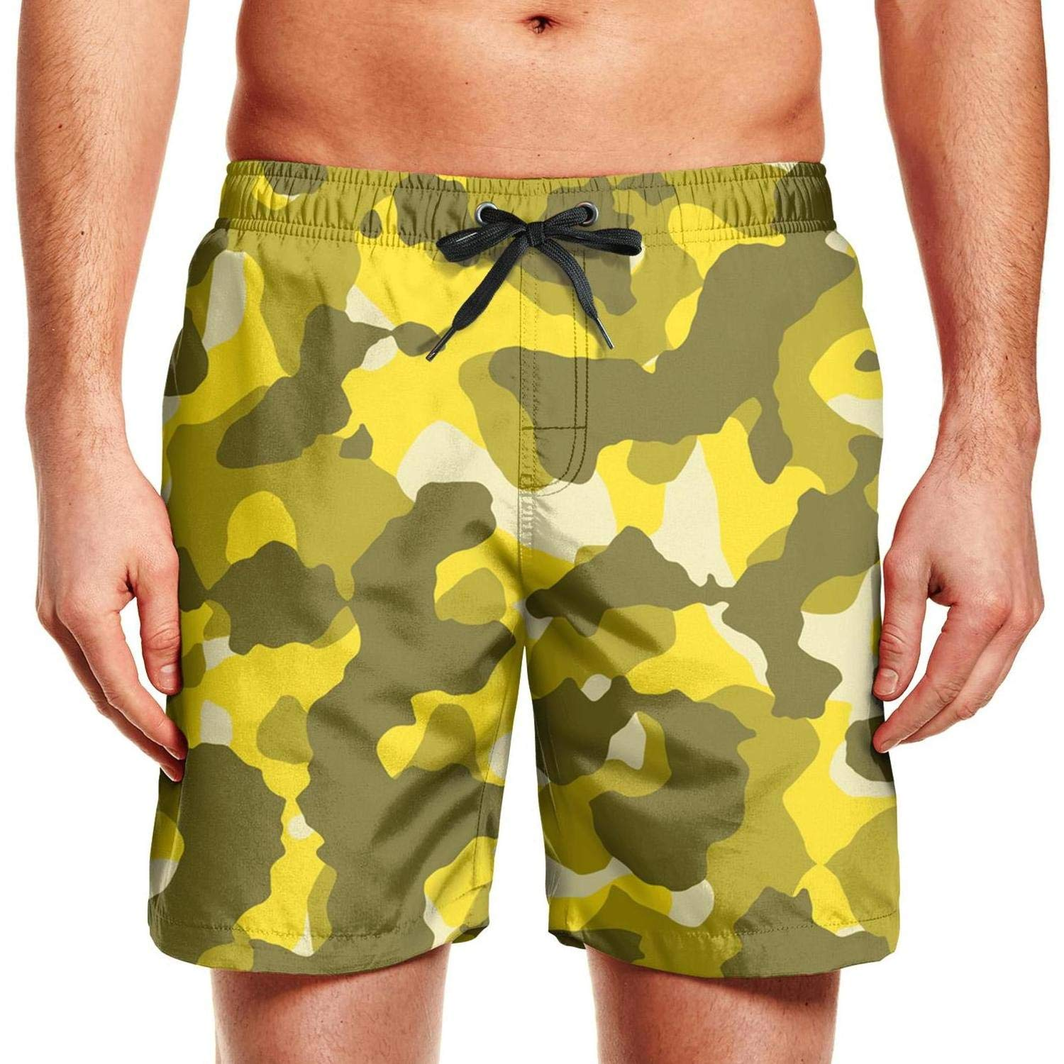 FPPING Mens Red Leafy Camo Adjustable Swimming Beach Swim Trunk