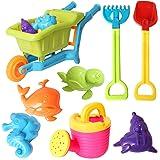 rainbow yuango 8PCS Wheel Barrow Beach Toys Set Models Molds, Shovels, Rakes, Sprinkler Sand Bucket Toys Party Favors Kids(K2-6019)