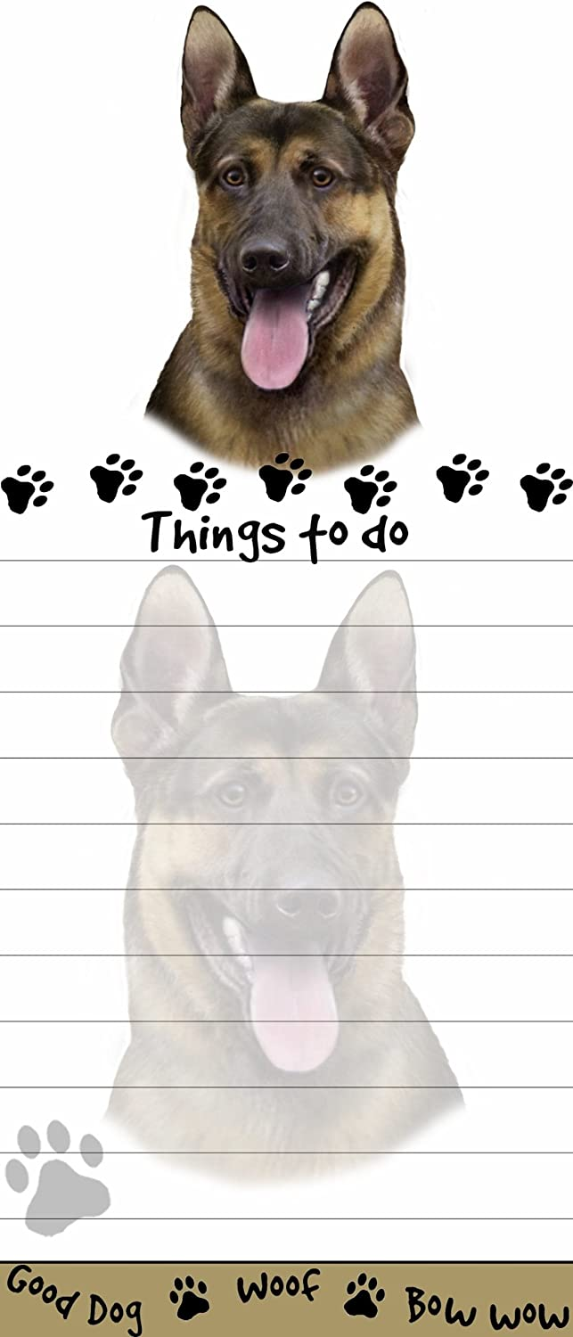 """""""German Shepherd Magnetic List Pads"""" Uniquely Shaped Sticky Notepad Measures 8.5 by 3.5 Inches"""