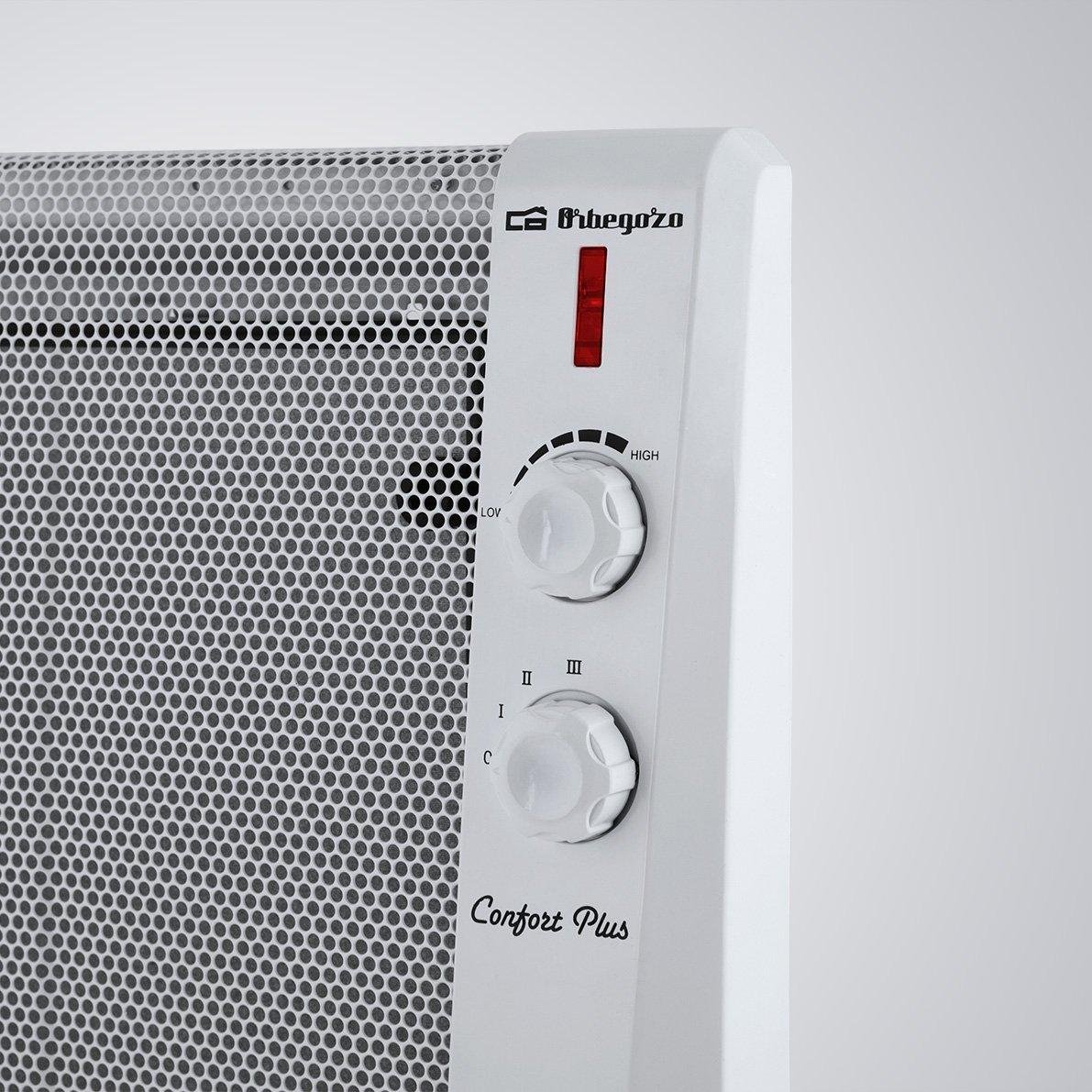 Orbegozo RM 1500 - Radiador, tecnología MICA-SYSTEM, 1000 W, 3 modos de calor 500 W, 1000 W, 1500 W, termostato, seguridad antivuelco, sin fluido, ...