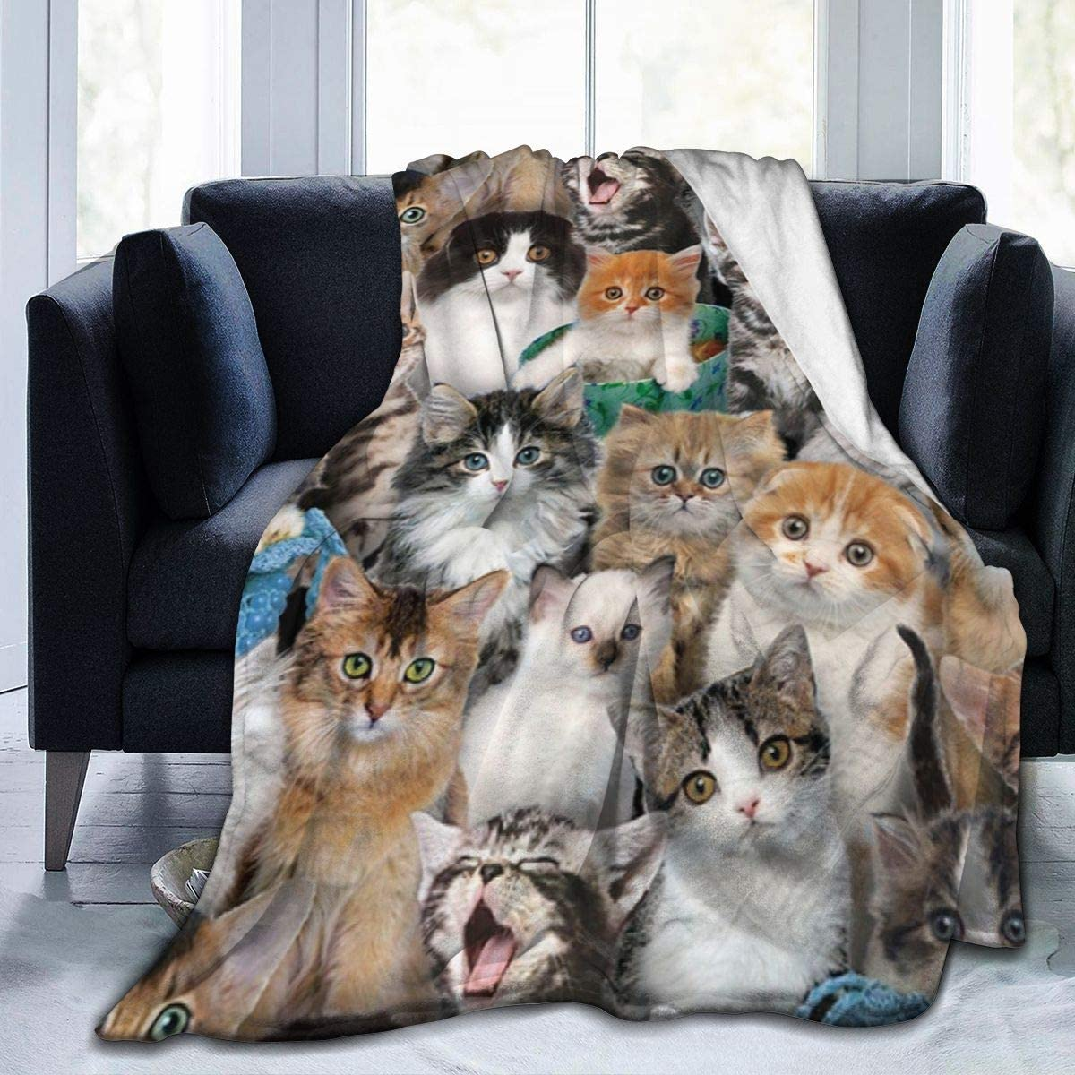 I love you here. Cute Cat 80x60 Inch Warm Fluffy Plush Blanket for Bed Couch Chair Living Room Fall Winter Spring Gift for Christmas Easter Valentine's Day Thanksgiving Halloween