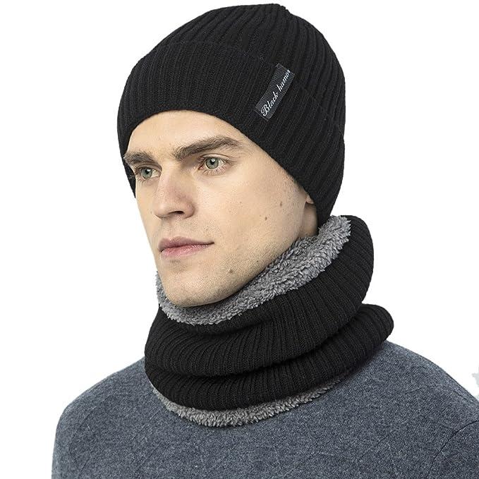 56f8b60a8a6 Novawo Thick Fleece Lined Stretchy Beanie Cap + Neck Warmer Set for Men  Women  Amazon.co.uk  Clothing