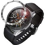 Fintie Samsung Galaxy Watch 46mm / Gear S3 ベゼルリング 保護ベゼルカバー 傷防止ベゼル 粘着カバー ステンレス製 高級感 耐久性 装着簡単(ブラック/シルバー)