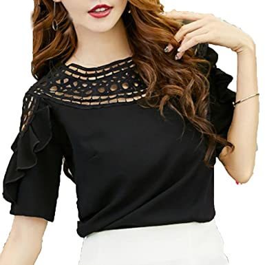 RFZYnjjb Women Short Sleeve Hollow Ruffles Blouses Top Shirt