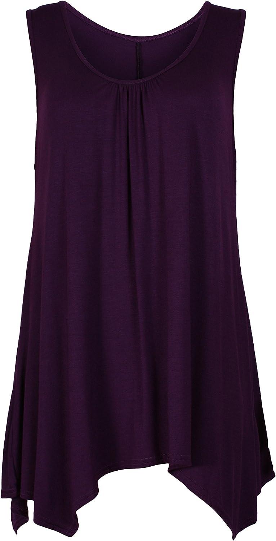Womens Sleeveless Ladies Stretch Ruched Round Scoop Neckline Uneven Hem Plain Long Vest Tshirt Top Plus Size Purple