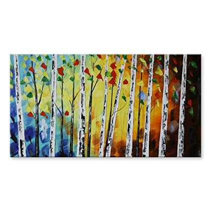 c9dfc23a155 IARTS 100% Hand Painted Contemporary Blue Palm Forest Acrylic Oil Paintings
