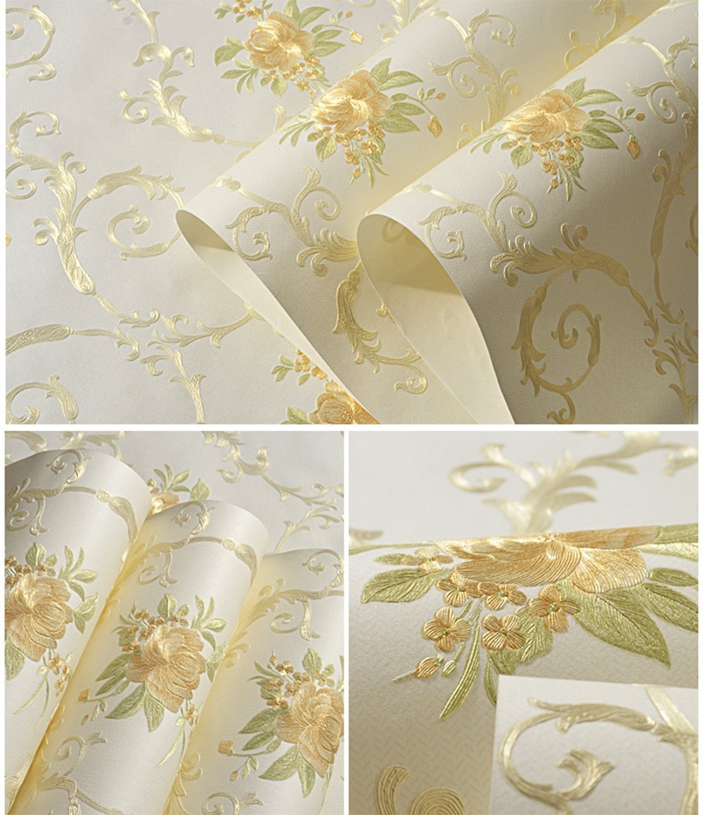Non-Woven Temporary Self Adhesive Removable Wallpaper Luxury Embossed Floral Mural Wallpaper Stick and Peel Roll 20.83 Inches by 9.8 Feet by Glow4u (Image #1)