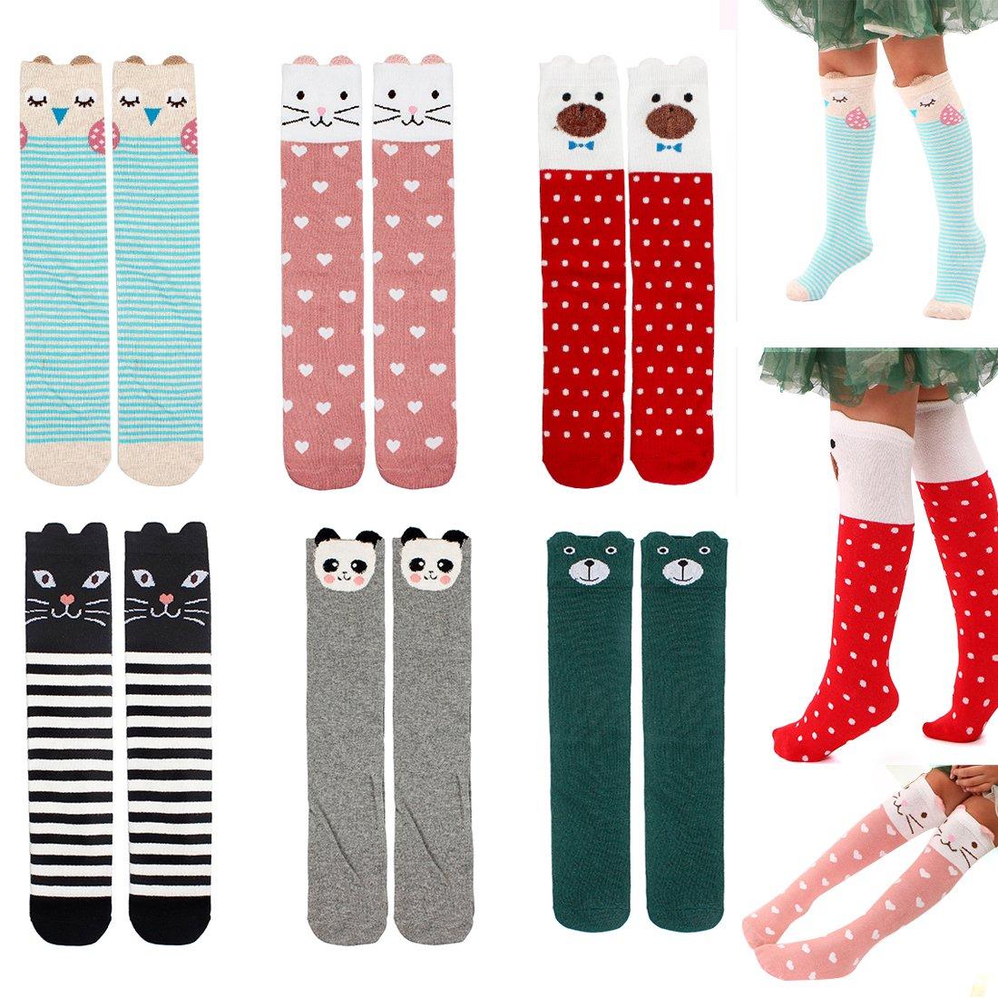 Menghao 6 pairs Girls Cute Over Calf Knee High Socks - Kids Child Cartoon Animal Cat Fox Bear Cotton Stockings