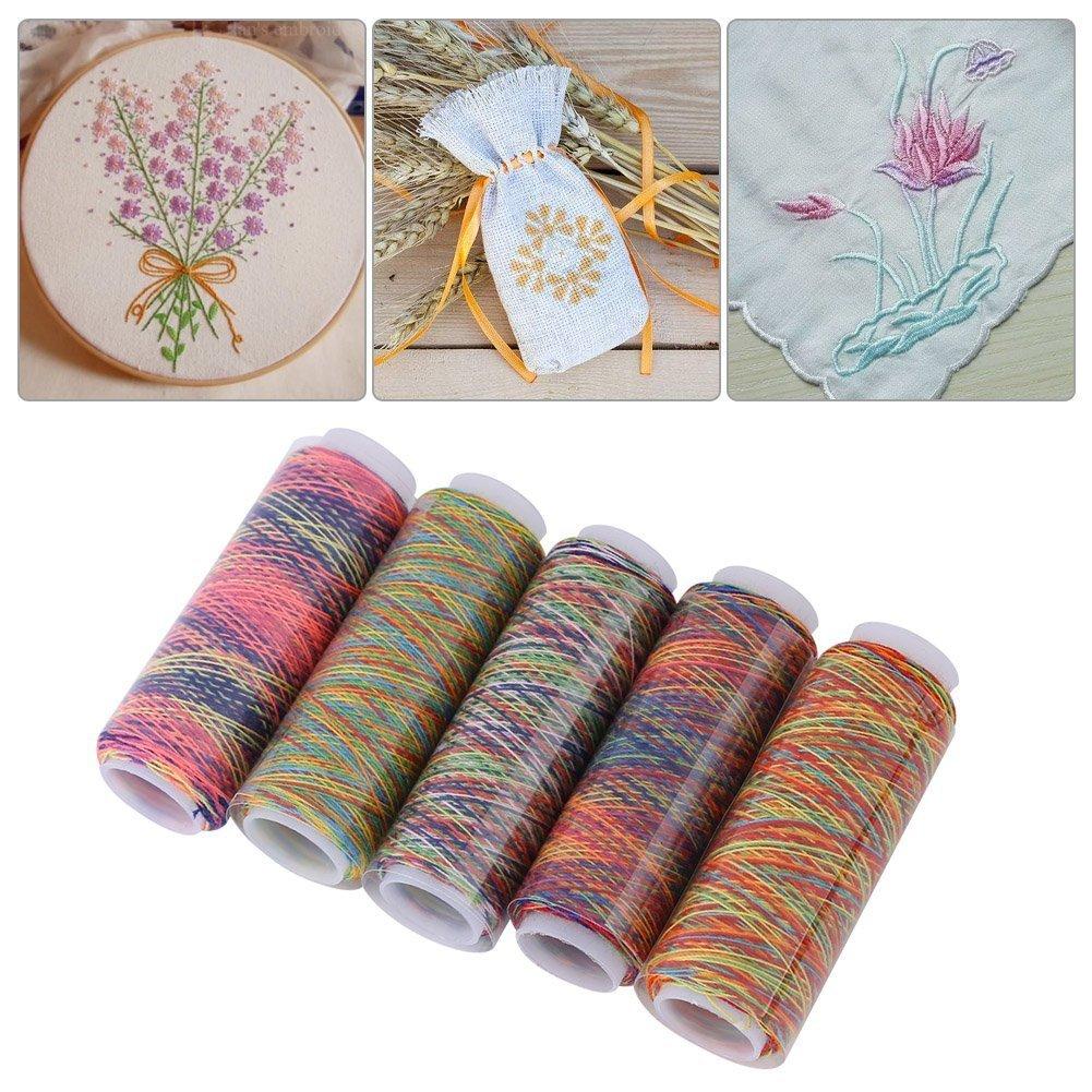 Rainbow cucito, filo rocchetti per cucire a mano filo da ricamo, in poliestere, multicolore (pezzi) YFMD