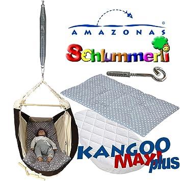Amazonas Kangoo MAXI plus grey mit Matratze Inlay Schlummerli-Feder Deckenhaken