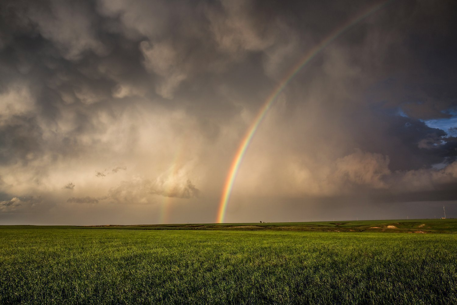 Oklahoma Landscape Photography Art Print - Picture of Brilliant Rainbow During Thunderstorm in Panhandle Whimsical Decor Artwork for Home Decoration 5x7 to 30x45