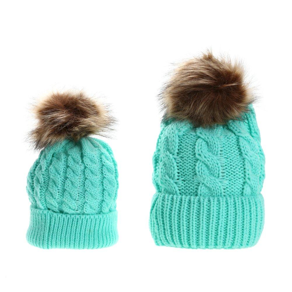 Iainstars Mom Baby Kid Winter Cozy Warm Raccoon Fur Bobble Beanie Cotton Knitted Parent-Child Hat
