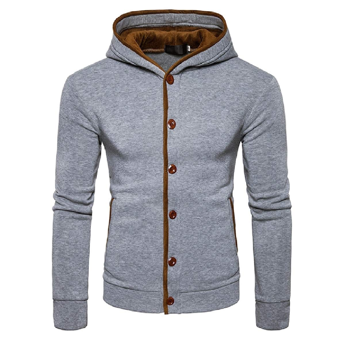 Abetteric Mens Cardi Plus Size Winter Hooded Pullover Sweatshirt Top