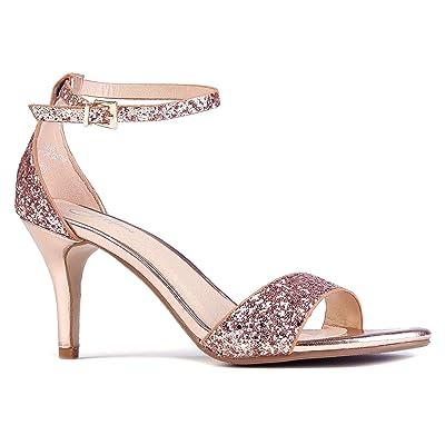 J. Adams Low Ankle Strap Kitten Heel - Essential Mid Heel Open Toe Dress Sandal - Dove | Heeled Sandals