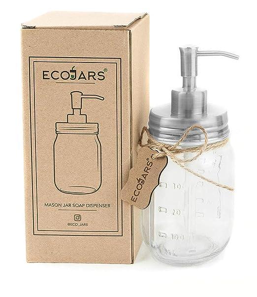 Eco Jars Mason Jar dispensador de jabón, Plateado, Vidrio ...