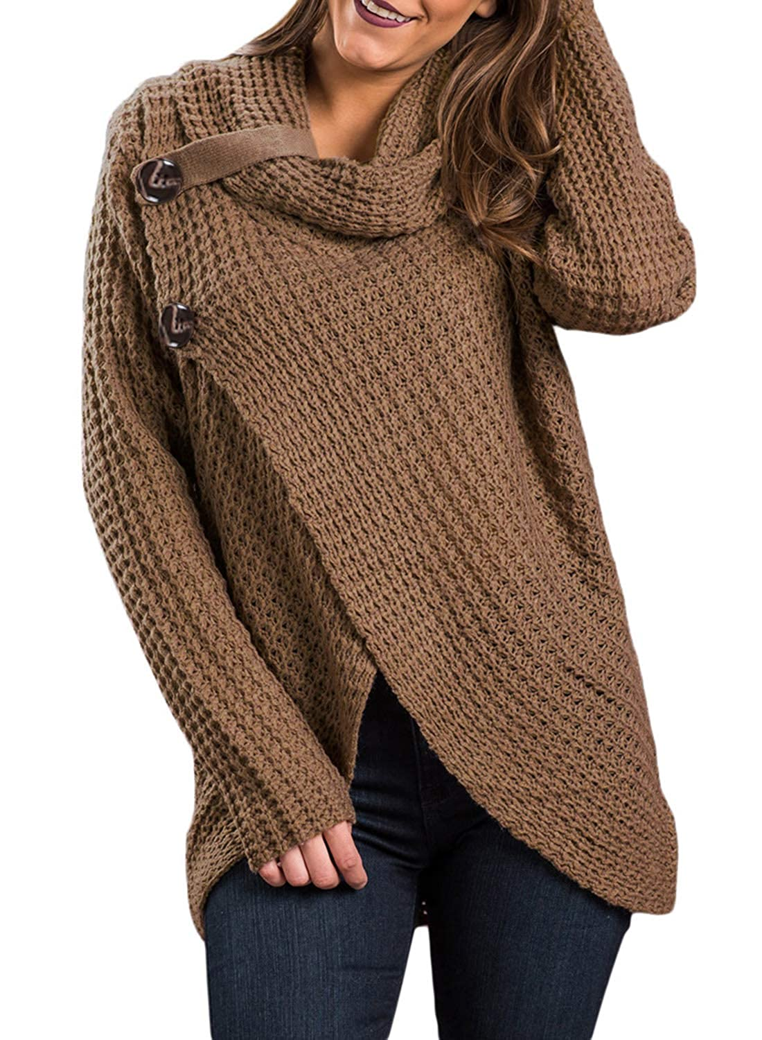 FIYOTE Womens Cowl Neck Chunky Cable Knit Asymmetric Hem Wrap Pullover Sweater with Button Details