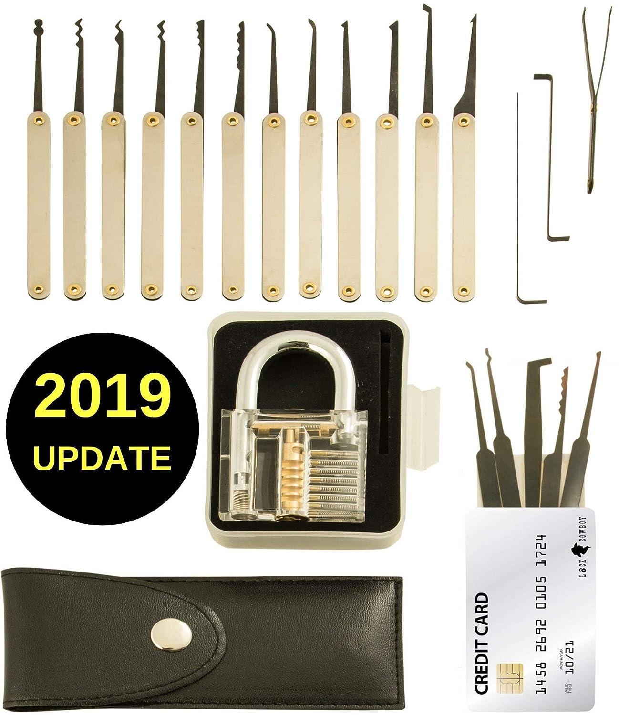 20 Piece Lock Pick Set With Transparent Training Padlock And Credit 10pcs Lockpick Tool Card Picking Kit By Lockcowboy Guide For Beginner Pro Locksmiths