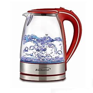 Brentwood Appliances KT-1900R Tempered Glass Tea Kettles, 1.7-Liter, Red