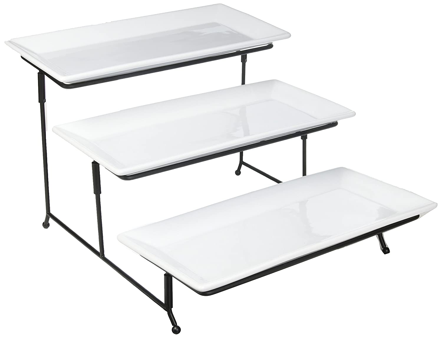 Graciousi Dining Three-Tier Rectangular Plate Set, White And Black