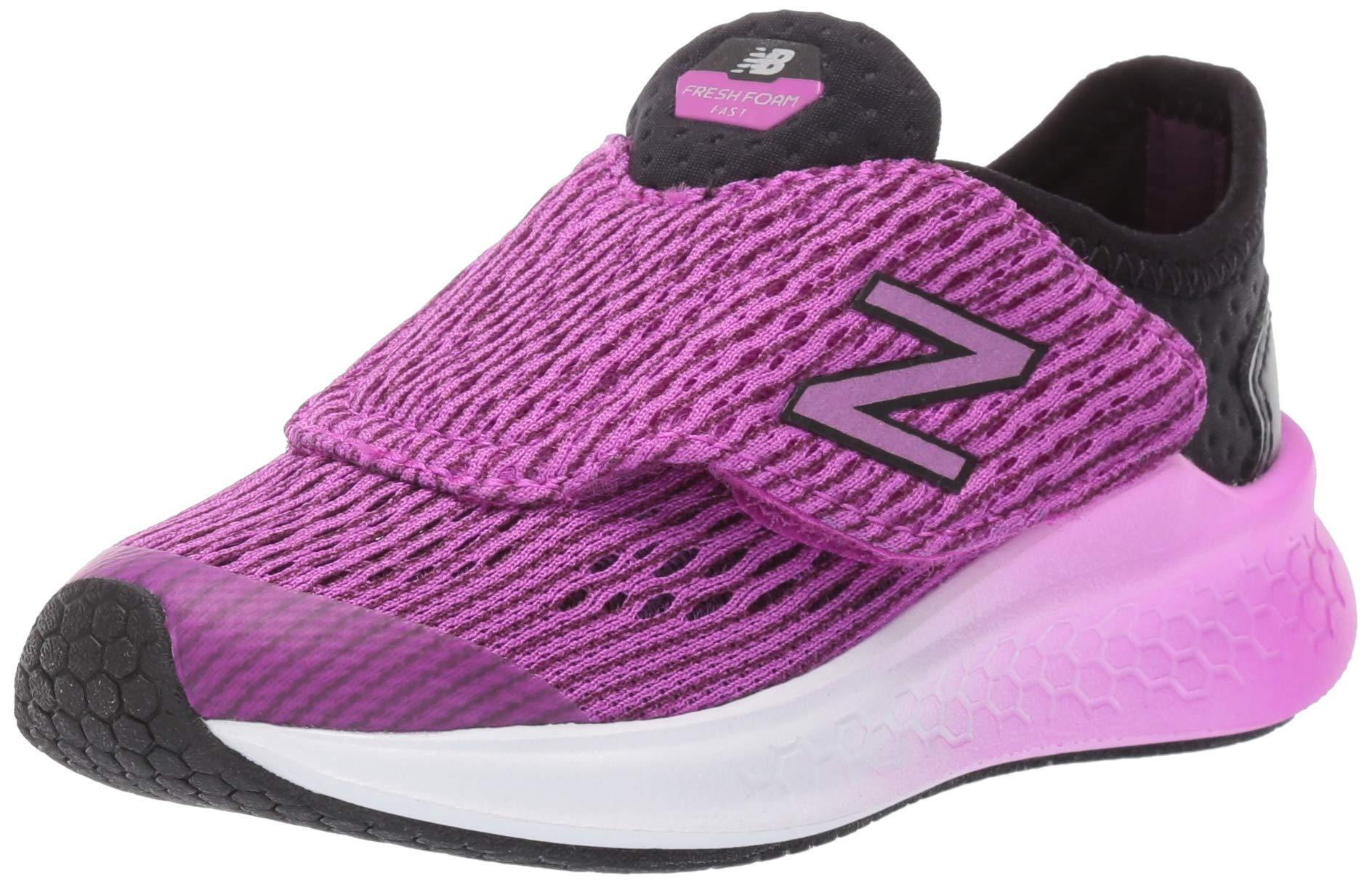 New Balance Girls' Fast V1 Fresh Foam Hook and Loop Running Shoe Black/Voltage Violet 1.5 M US Little Kid