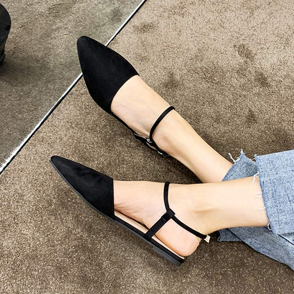 Woman Girls Flock Leather Shoes Comfy Pointed Toe Ankle Strap Buckle Loafers Flat Button Non Slip Office Lady Work Sandals