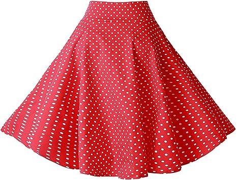 Lolichy Falda de fiesta casual con bolsillos para mujer de los ...