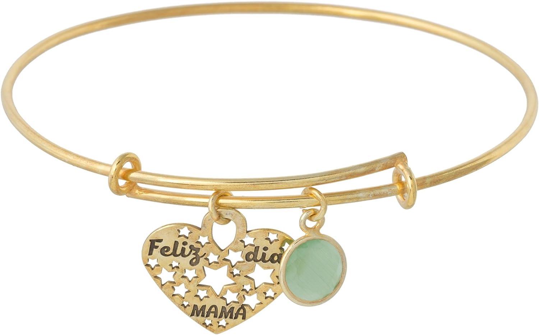 Córdoba Jewels | Pulsera en Plata de Ley 925 bañada en Oro con diseño Feliz Día Mamá Esmeralda Oro