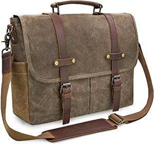 Mens Messenger Bag 15.6 Inch Waterproof Vintage Genuine Leather Waxed Canvas Briefcase Large Satchel Shoulder Bag Rugged Leather Computer Laptop Bag, Khaki