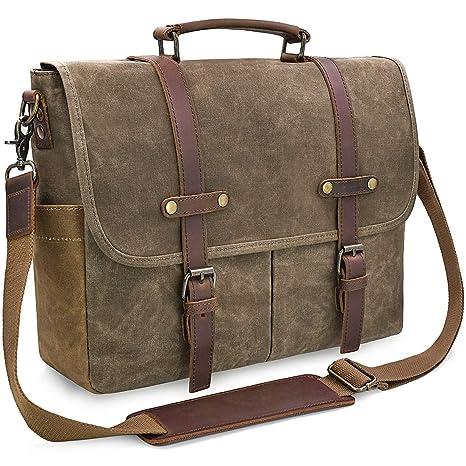 edd53391bf NEWHEY Brosa Lavoro Uomo Tela Messenger Borse Spalla Laptop Tracolla  Impermeabile Tote Grande Scuola Vintage Bag