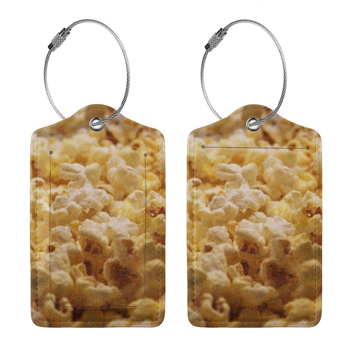 Popcorn Travel Luggage Tags With Full Privacy Cover Leather Case And Stainless Steel Loop