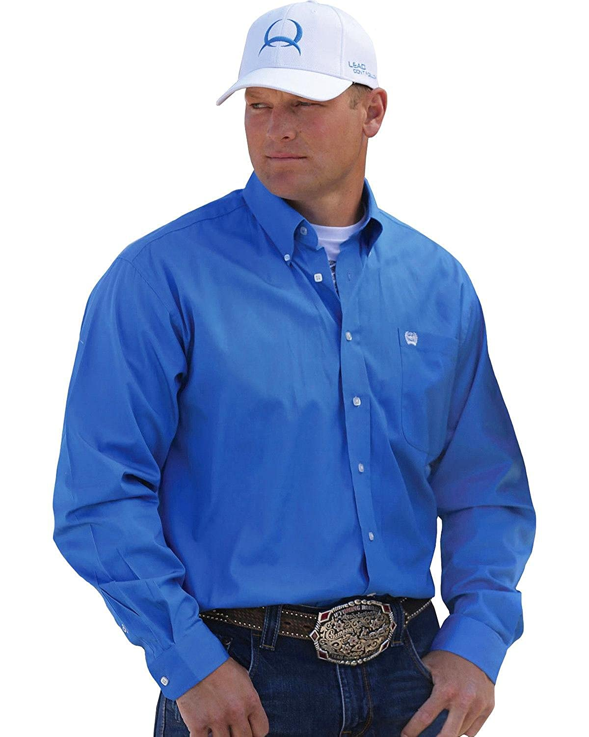 9016d1a1f4732 Cinch Men s Solid Blue Button-Down Western Shirt Blue XX-Large at Amazon  Men s Clothing store