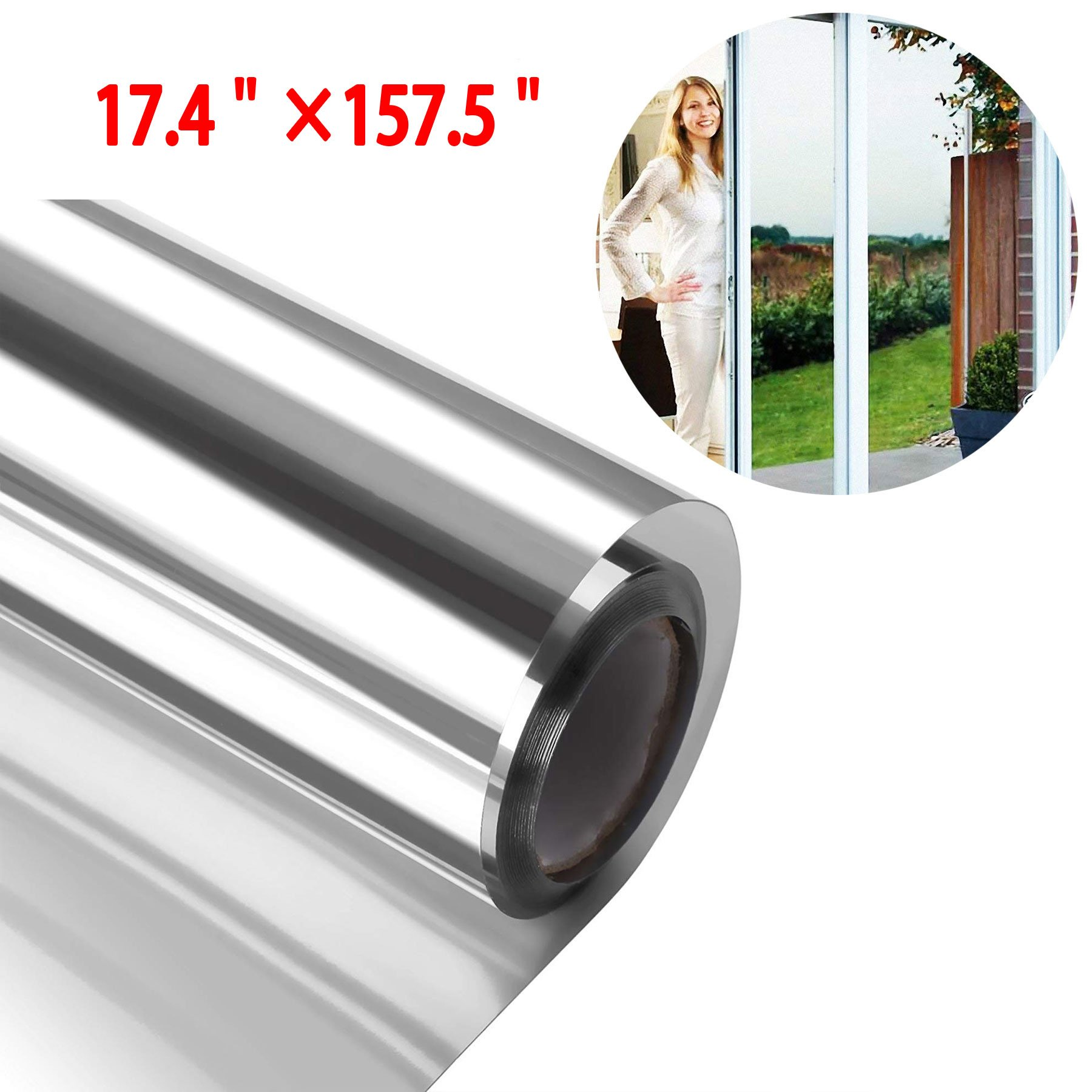Originalidad One Way Window Film Anti UV Static Cling Window Film Mirrot Tint Window Film - Removale Decorative Heat Control Privacy Glass Tint for Home/Office Windows (17.4'' x 157.5'', Sliver)