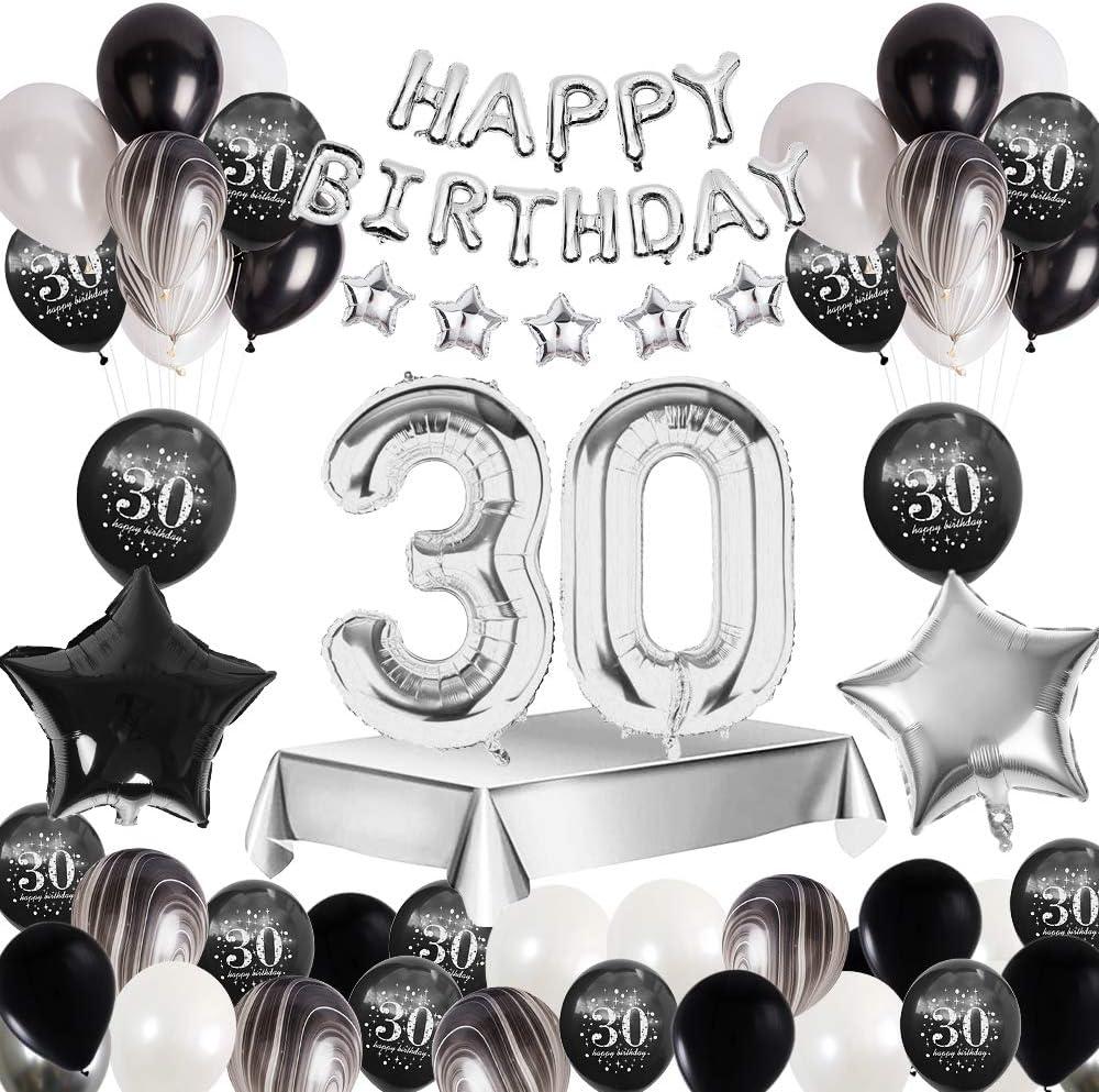 MMTX 30 Decoración fiesta cumpleaños, Feliz cumpleaños Decoracion Globos Negro plateado con Happy Birthday Banner, impresión látex Globos de papel de corazón de estrella para Niño Hombres Niña Mujer