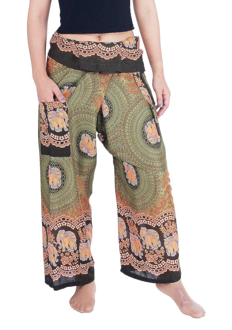 Green Elephant pink Lannaclothesdesign Women's Thai Fisherman Pants Yoga Trousers Wide Legs Pants