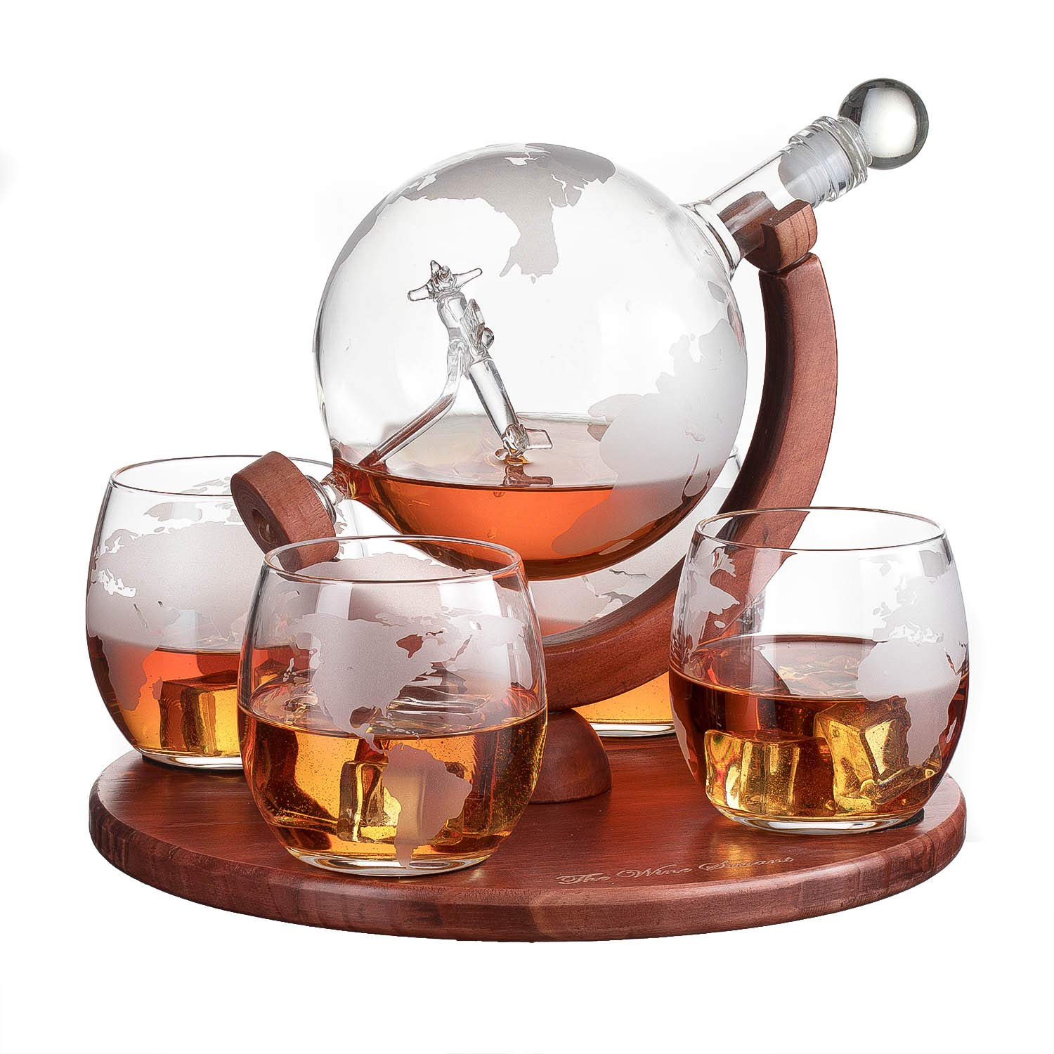 Etched World Decanter whiskey Globe - The Wine Savant Whiskey Gift Set Globe Decanter with Antique Airplane, Whiskey Stones and 4 World Map Glasses, Great Gift - Alcohol Related Gift, HOME BAR DECOR