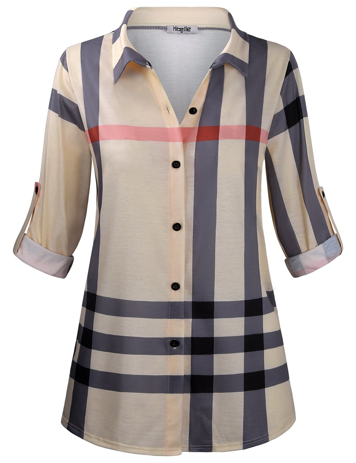 Hibelle Work Blouses for Women, Ladies Plaid Rolled Up Sleeve V Neck Buttoned Down Front Checked Shirt Flowing Shirttail Hem Basic Nice Striped Office Career Tunic Top Beige XL