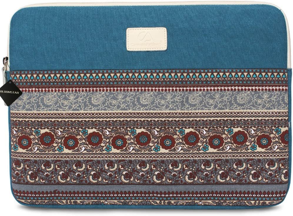 11.6 Inch Laptop Sleeve 11 Inch Bohemian Canvas Protective Notebook Bag Computer Case Cover for MacBook Pro MacBook Air Chromebook Acer Dell HP Samsung Sony (Horizontal, Blue)