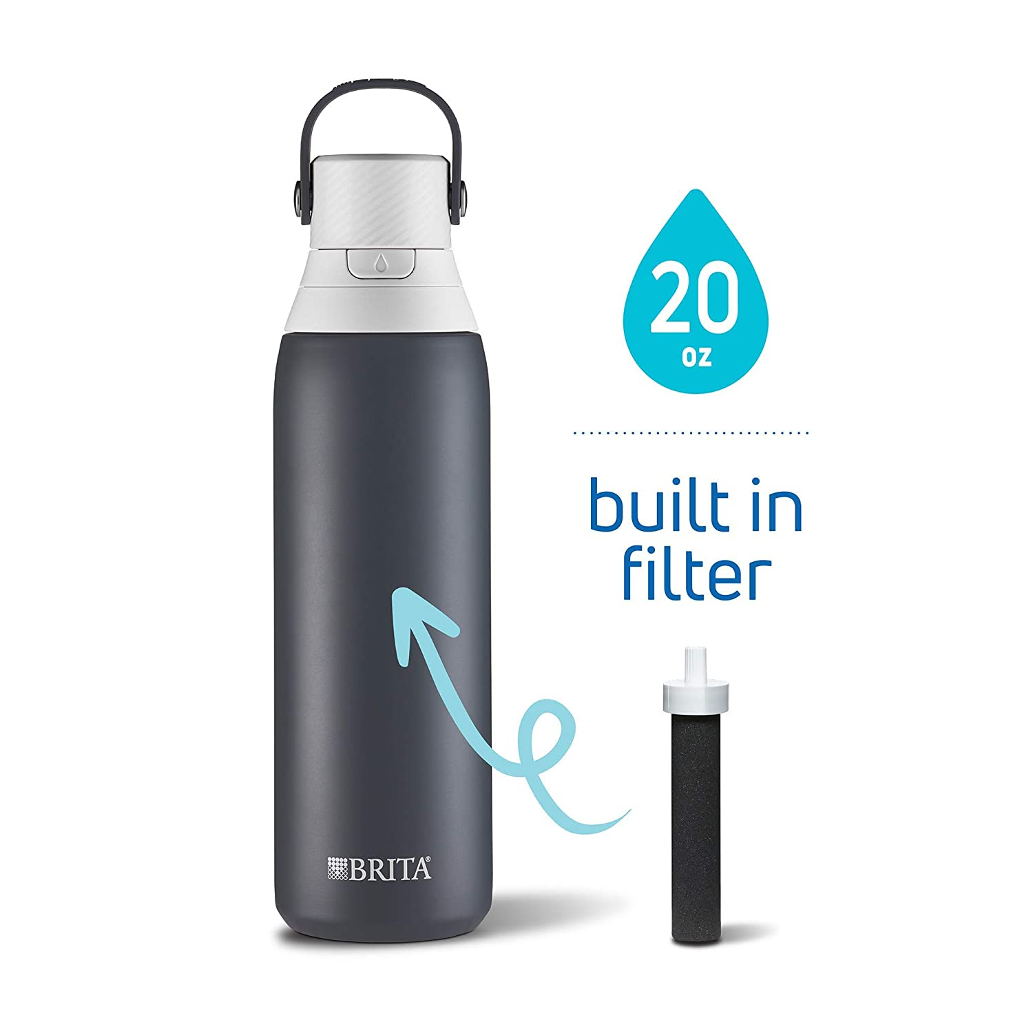 Brita 20 Ounce Premium Filtering Water Bottle with Filter - Double Wall Insulated Stainless Steel Bottle - BPA Free - Carbon and Assorted Colors