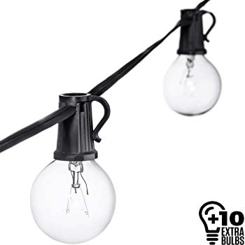 amazon com 50ft black string lights 60 g40 globe bulbs 10 extra