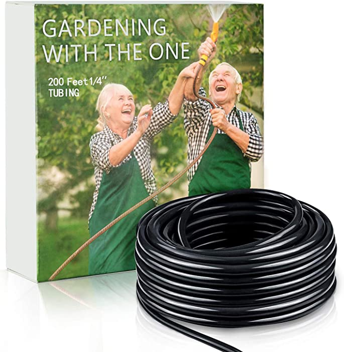 Watern 200ft 1/4 inch Blank Distribution Tubing Drip Irrigation System Hose Small Garden Watering Tube Line