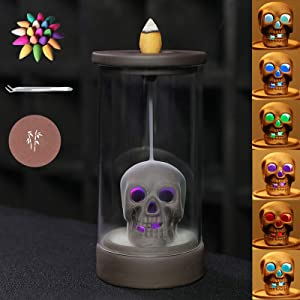 n/p Waterfall Incense Burner Skull Decor Backflow Ceramic Incense Holder Incense Fountain with 120 Backflow Incense Cones for Home Decor Office Yoga Aromatcherapy Ornamen