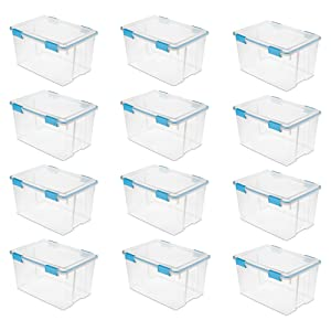 Sterilite 54 Quart Gasket Box in Clear with Blue Latches, 12 Pack   19344304