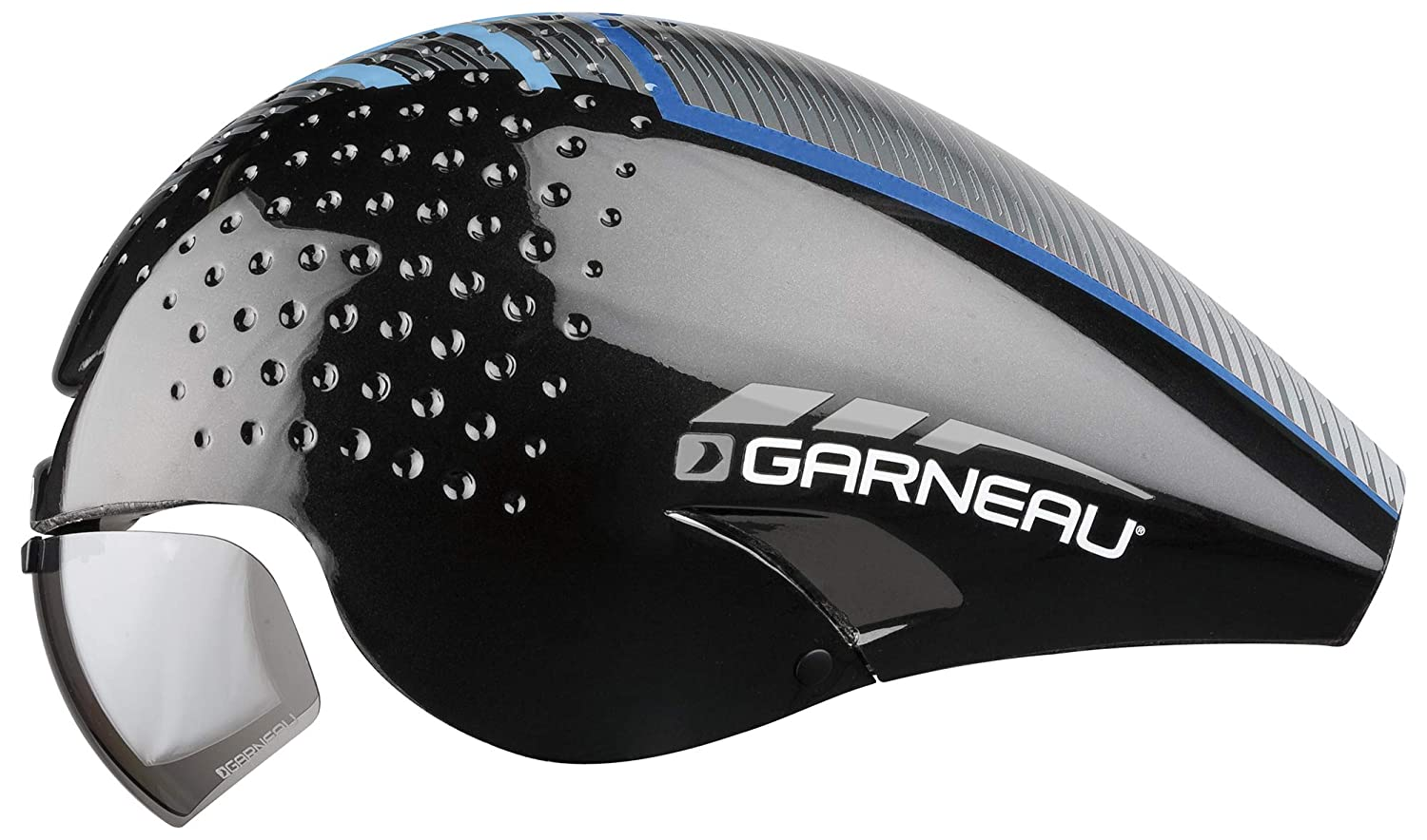 Louis Garneau LG P-09 Aerodynamic, CPSC Safety Certified, TT Bike Helmet, Black/Blue, Medium