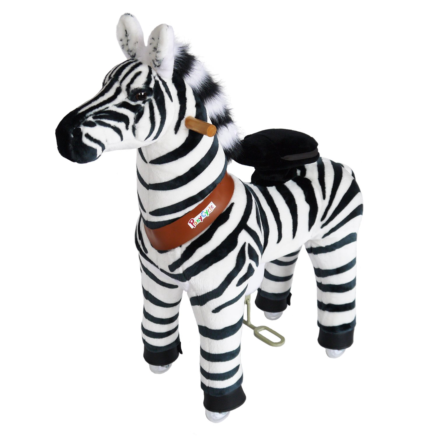 PonyCycle Official Riding Horse Zebra Black and White Giddy up Pony Plush Toy Walking Animal for Age 4-9 Years Medium Size - N4012 by PonyCycle (Image #1)